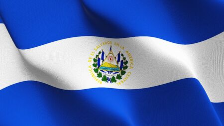 El Salvador flag waving on wind. Salvadoran background fullscreen flag blowing on wind. Realistic fabric texture on elevator day. Foto de archivo