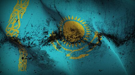 Kazakhstan grunge flag waving on wind. Kazakhstani dirty background fullscreen flag blowing on wind. Realistic fabric texture on elevator day.