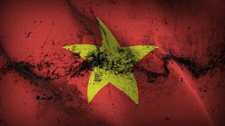 Vietnam grunge flag waving on wind. Vietnamese dirty background fullscreen flag blowing on wind. Realistic fabric texture on elevator day. Stock Photo