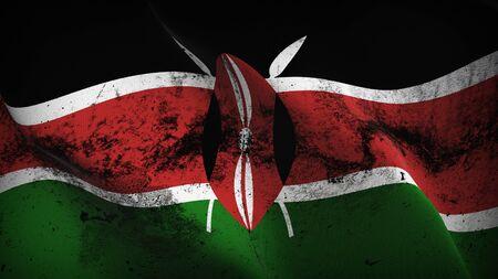 Kenya grunge flag waving on wind. Kenyan dirty background fullscreen flag blowing on wind. Realistic fabric texture on elevator day. Stock Photo