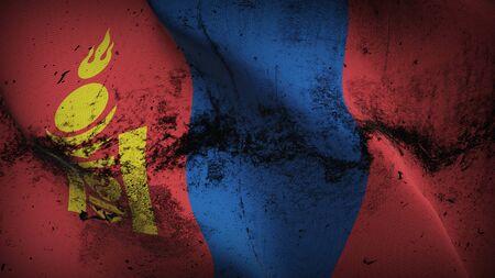 Mongolia grunge flag waving on wind. Mongolian dirty background fullscreen flag blowing on wind. Realistic fabric texture on elevator day. 版權商用圖片
