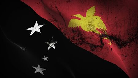Papua New Guinea grunge flag waving on wind. Papua New Guinean dirty background fullscreen flag blowing on wind. Realistic fabric texture on elevator day. Stock Photo