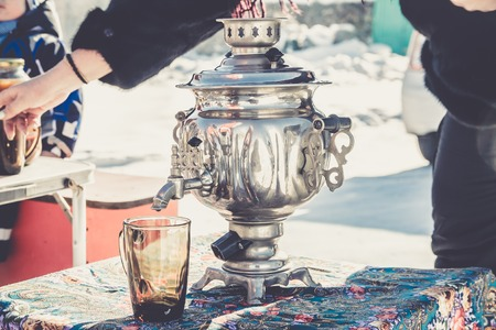 traditional Russian Tea from Samovar with drying