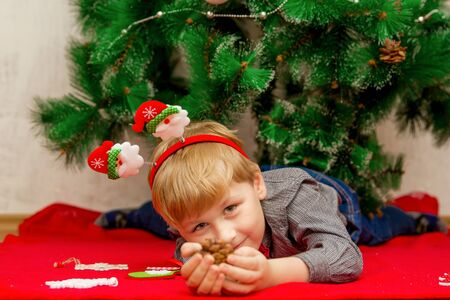 Happy smiling light haired little boy lying on a red blanket under Christmas New Years tree with Christmas decorations around him Imagens