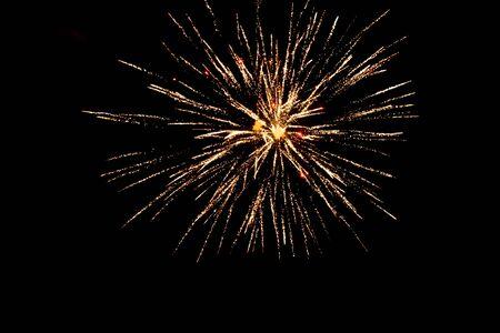 Golden fireworks on a black background, Fireworks explode, fireworks background, light show, close-up