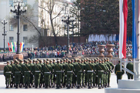 KHABAROVSK - MAY 9, 2016: Military Parade on 71th anniversary of Victory in Great Patriotic War on May 9, 2016 on Lenin Square in Khabarovsk, Russia