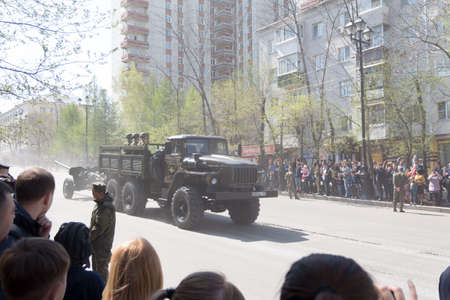 9 of may 2017 Khabarovsk, Russia. Military technique on the Victory Parade devoted to 72th anniversary of Great Patriotic War Ending