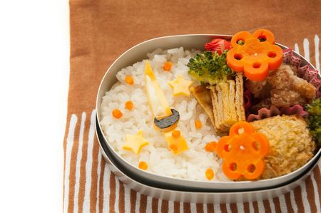 Lunch representing the Japanese sword. Stock Photo