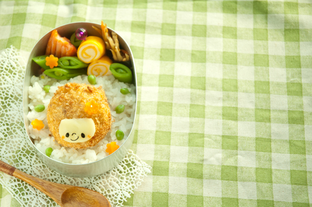 Lunch of Croquette head motif Stock Photo