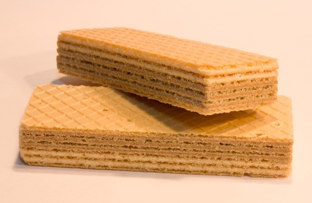 Wafer cookies on a light background