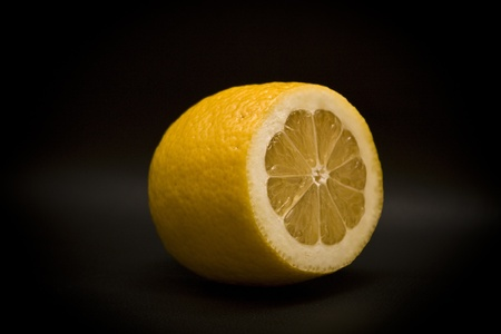 Lemon on a black background Stock Photo