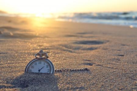 Temps, horloge, plage