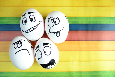 Funny Easter eggs with different emotions on his face