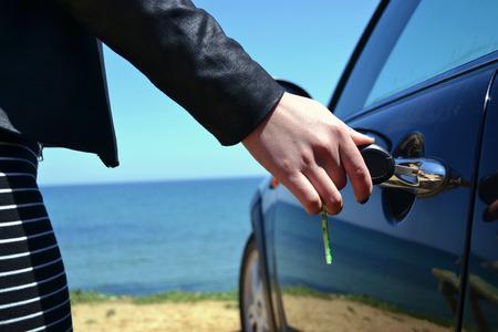 car lots: Left key on the car door at parking lots
