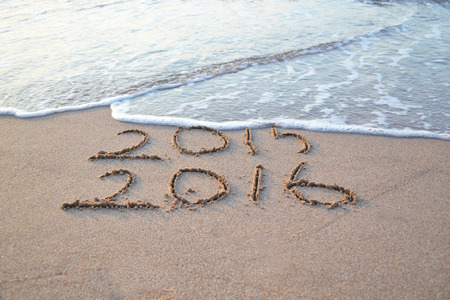 Happy New Year 2016 will replace the 2015 concept on the sea beach Stock fotó