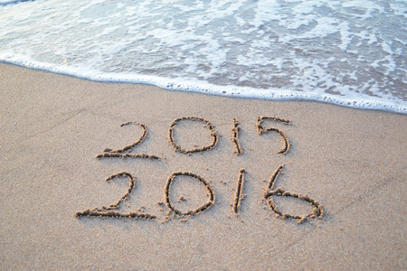Happy New Year 2016 will replace the 2015 concept on the sea beach Stock fotó - 42507858