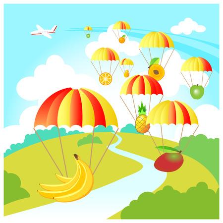 mango slice: fruit skydive Illustration