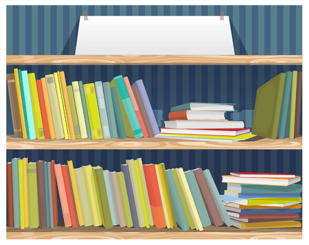 corpus: wonderful screen saver on education in the form of bookshelves Illustration