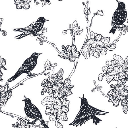 starlings and flowering branches seamless ornament silhouettes of birds and flowers