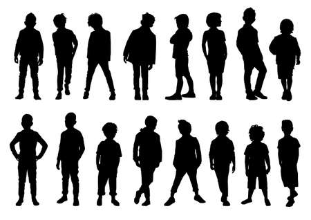 set of silhouettes of boys in different movements