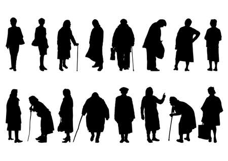 silhouettes of elderly women in different bends
