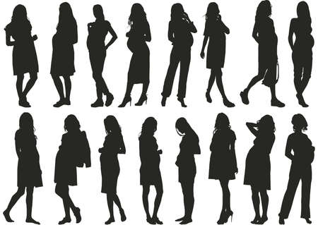 set of pregnant women silhouette vector Ilustrace