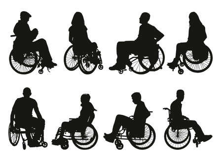 women and men on wheelchairs silhouettes set Иллюстрация