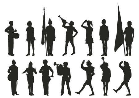 vector teenage boy scout silhouette Vectores