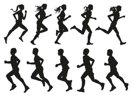 silhouettes of running young men and women athletes set vector