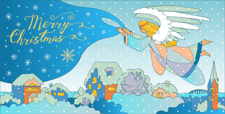 Christmas angel flies over the village and covers it with a veil. vector greeting card hand drawn