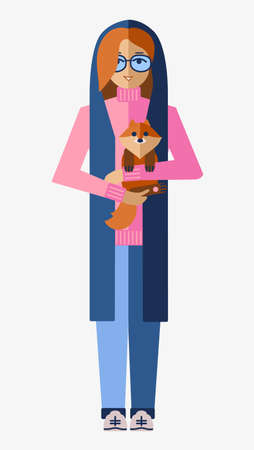 young, stylish girl in glasses is holding her dog. flat vector isolated illustration