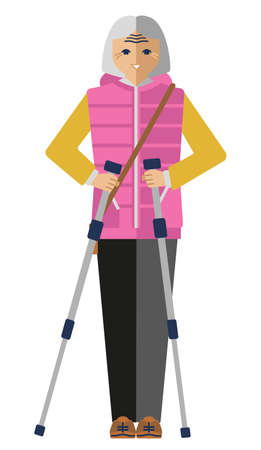 attractive positive elderly woman is engaged in scandinavian walking. Isolated flat vector clipart 向量圖像