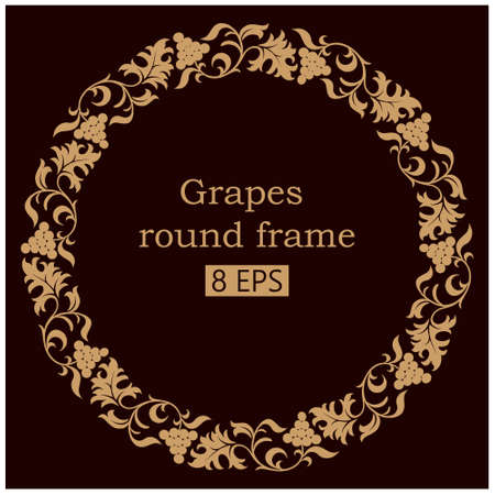 Grapes round ornamental frame. The symbol of winemaking and Christianity on a red wine background. Vector clipart.
