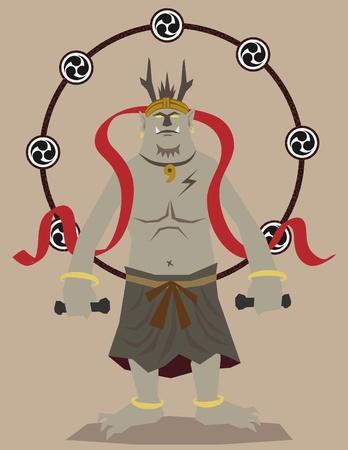 雷の神  イラスト・ベクター素材