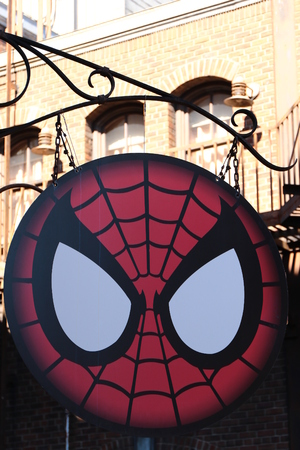spiderman: Photo of the Amazing Adventure of Spider Man, Spider Sign Editorial