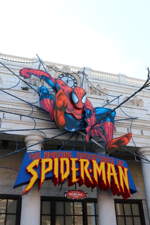 spider man: OSAKA, JAPAN-JAN 11, 2016: Photo of the Amazing Adventure of Spider Man, one of the most famous attraction rides at Universal Studio, Osaka, Japan. Editorial