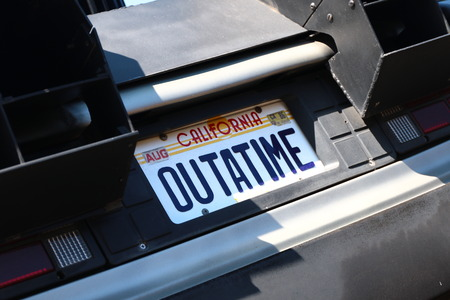 OSAKA, JAPAN-Feb 12, 2016: Photo of A replicathe of the Back to the Future DeLorean, one of the most famous attraction at Universal Studios JAPAN, Osaka, Japan.