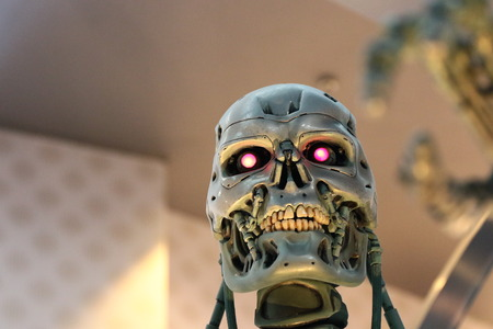 terminator: OSAKA, JAPAN-Feb 11, 2016: Photo of the t-800 Endoskeleton from the Terminator 3D, one of the most famous attraction at Universal Studios JAPAN, Osaka, Japan.