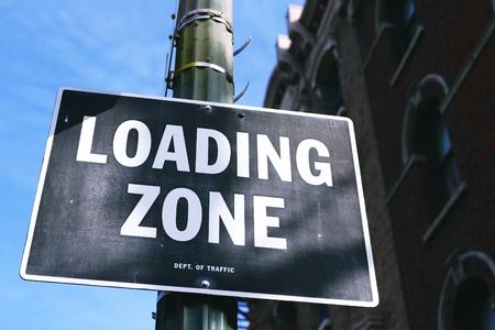 trespass: LOADING ZONE Sign Stock Photo