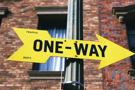 one lane road sign: Road Sign, ONE WAY Stock Photo