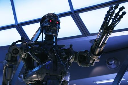 OSAKA, JAPON-11 février 2016: Photo du squelette t-800 Fin de la Terminator 3D, l'un des plus célèbre attraction Universal Studios Japan, Osaka, Japon.