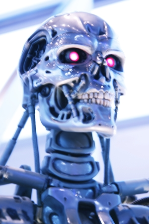 terminator: OSAKA, JAPAN-Feb 11, 2016: Photo of the t-800 End skeleton from the Terminator 3D, one of the most famous attraction at Universal Studios JAPAN, Osaka, Japan.
