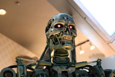 OSAKA, JAPAN-Feb 06, 2016: Photo of the t-800 Endoskeleton from the Terminator 3D, one of the most famous attraction at Universal Studios JAPAN, Osaka, Japan.