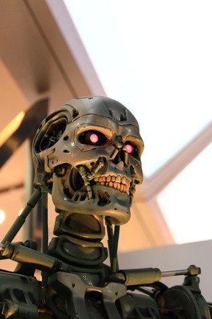 terminator: OSAKA, JAPAN-Feb 06, 2016: Photo of the t-800 Endoskeleton from the Terminator 3D, one of the most famous attraction at Universal Studios JAPAN, Osaka, Japan.