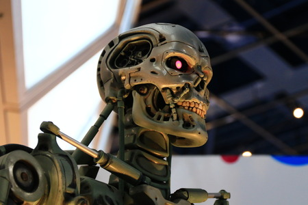 monster movie: OSAKA, JAPAN-Feb 06, 2016: Photo of the t-800 Endoskeleton from the Terminator 3D, one of the most famous attraction at Universal Studios JAPAN, Osaka, Japan.