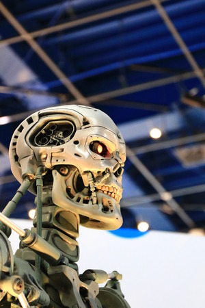 terminator: OSAKA, JAPAN-Feb 06, 2016: Photo of the t-800 End skeleton from the Terminator 3D, one of the most famous attraction at Universal Studios JAPAN, Osaka, Japan.