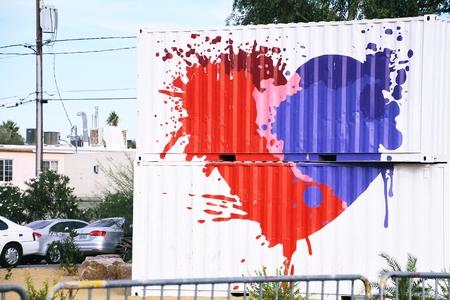 LAS VEGAS, NEVADA-Oct 31, 2014 Las Vegas Downtown, Wall art, Viva Lost vegas