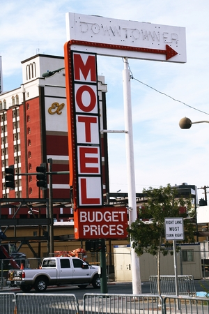 entertainment district: LAS VEGAS - OCTOBER 28: Downtowner Motel historical sign in Fremont Street Entertainment District. Fremont Street is the second most famous street in the Las Vegas Valley. Las vegas, October 28, 2015 Editorial