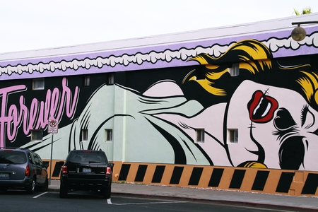 LAS VEGAS, NEVADA-31 octobre 2014 art Las Vegas Downtown, Mur, Viva perdu vegas