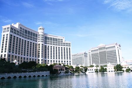 bellagio fountains: LAS VEGAS NV, USA-Oct 28: The Bellagio at evening on Oct 28, 2015 in Las Vegas, USA.